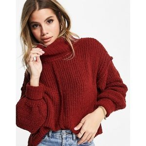 NWT Free People Be Yours Cowl Sweater Cranberry